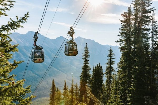 A summer view of the gondola near Lake Louise.